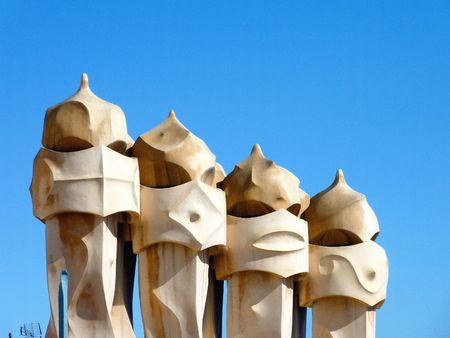 The chimneys of La Pedrera (casa Mila) in Barcelona in Spain photo