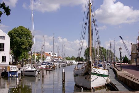 The harbor of Middelharnis in the Netherlands