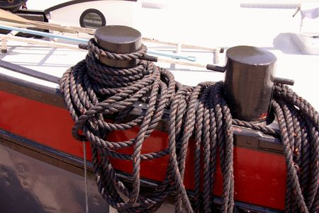 Bollards with a rope at a boat Stock Photo - 7423390