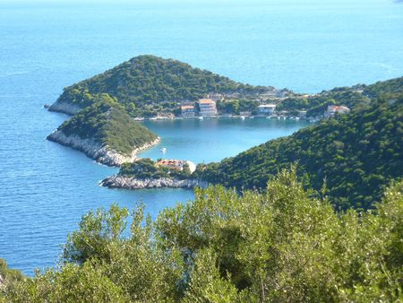 A peninsula and bays at the Croatian island Lastovo in the Adriatic sea photo
