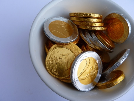 Money of chocolate from Sinterklaas a typical dutch celebration Stock Photo - 8370550