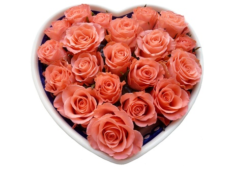 A heart full salmon orange roses for Valentine day photo
