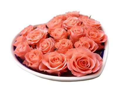 A heart full salmon orange roses for Valentine day photo