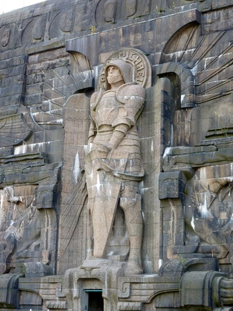 Sacred michael a detail of the monument to the battle of the nations in Leipzig in Germany photo