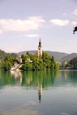 bled: A church at the island in lake Bled in Slovenia Stock Photo