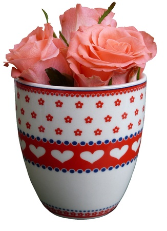 Roses in a cup with hearts Stock Photo - 8687750