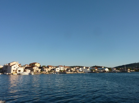 Houses in Betina at the island Murter in Croatia photo