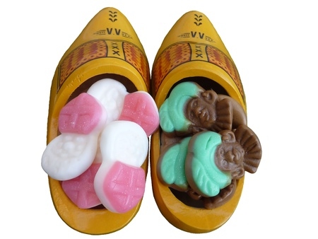 characterizing: Wooden shoes with sweet cadies from Sinterklaas in the Netherlands