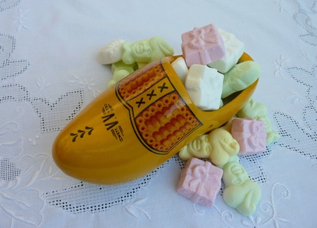 Sweet candies in a wooden shoe from Sinterklaa a typical Dutch celebration