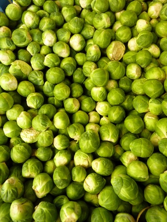 greengrocer: Frescas las coles de Bruselas en una caja en la verduler�a en el mercado