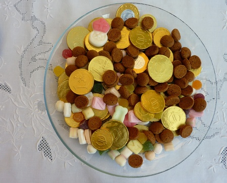 legends folklore: Confect the european euro with sweet cadies from Sinterklaas in the Netherlands Stock Photo