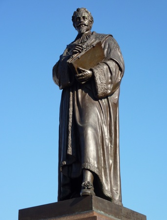 hugo: Statue of Hugo Grotius a poet and jurist in the Dutch history