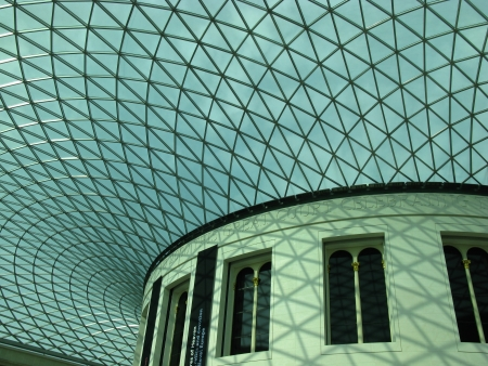 The ceiling of the great court in the British museum in London in England