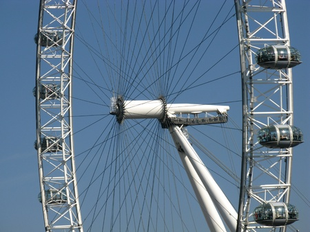 A detail of the london eye in London in England