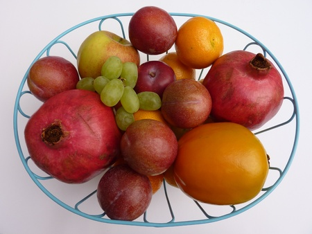 A fruit bowl with  various fruits photo