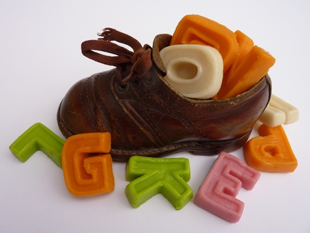 A children shoe with characters of marzipan from Sinterklaas Stock Photo - 11124711