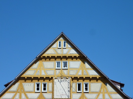 half timbered: Half timbered house in apastel color at the Necktar in Tuebingen in Germany