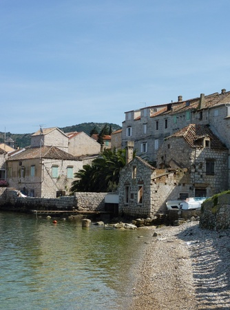 Houses in Vis town on the island Vis in the Adriatic sea in  Croatia photo