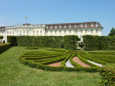 extensive: The baroque gardens of Ludwigsburg castle in Baden Wuertemberg in Germany during the summer Stock Photo