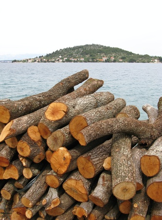 wood for the fire place on the quay of a Croatian island Stock Photo - 11908331
