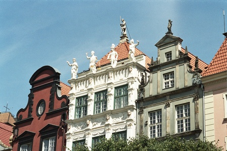 Beautiful historic fronts in Gdansk in Poland photo