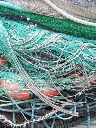 Green nets used by the fishermen photo