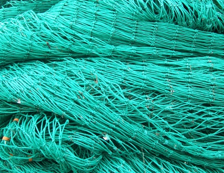 Green nets used by the fishermen
