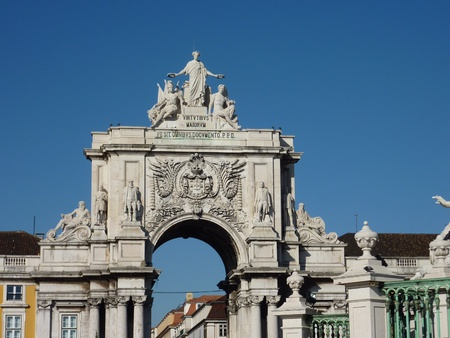rue: The rue Augusta Arch seen from the praca do Comercio in Lisbon in Portugal