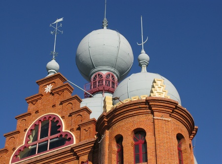 cupolas: Domes of the Campo Pequeno bullring at the plaza de toros in Lisbon in Portugal