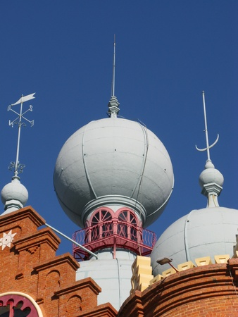 Domes of the Campo Pequeno bullring at the plaza de toros in Lisbon in Portugal photo
