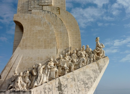 discoveries: A monument to the sea discoveries pioneers on the shore of the river Tagus in Belem a district of Lisbon in Portugal