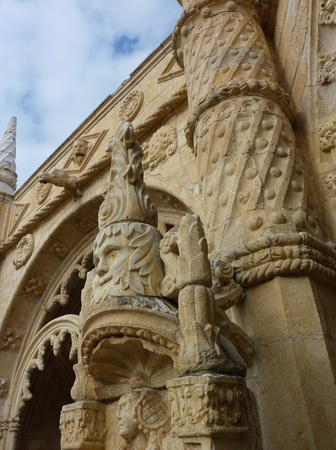 elaborate: A detail of the arcade of the courtyard of the Hieronymus monastery in Belem a district of Lisbon in Portugal