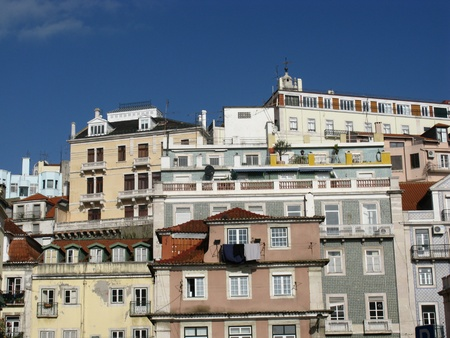 bairro: View at the houses on the hill of Bairro alto in Lisbon in Portugal Stock Photo