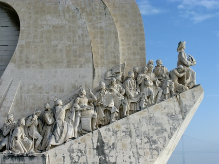 pioneers: A monument to the sea discoveries pioneers on the shore of the river Tagus in Belem a district of Lisbon in Portugal