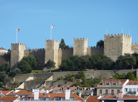 Panorama of Lisbon in Portugal with the saint George castle in the back
