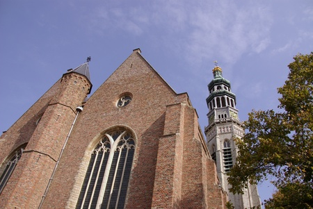 nicolaas: The new or st nicolaas church and the abbey tower long John in Middelburg on Walcheren in the Netherlands Stock Photo