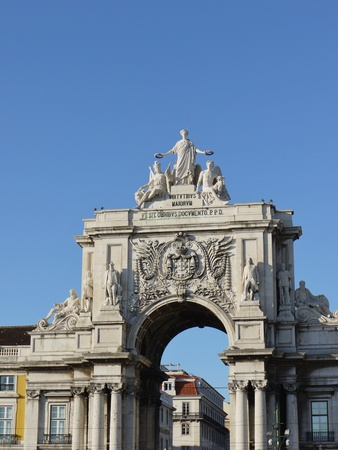 The rue Augusta Arch seen from the praca do Comercio in Lisbon in Portugal photo