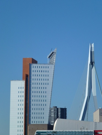 The Erasmus bridge and skyscrapers along the river Meuse in Rotterdam in the Netherlands Stock Photo - 12378030