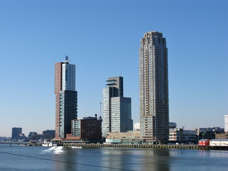 Skyscrapers along the river Meuse in Rotterdam in the Netherlands Stock Photo - 12186446