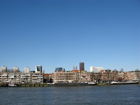 Skyscrapers and other buildings along the river Meuse in Rotterdam in the Netherlands Stock Photo - 12186447