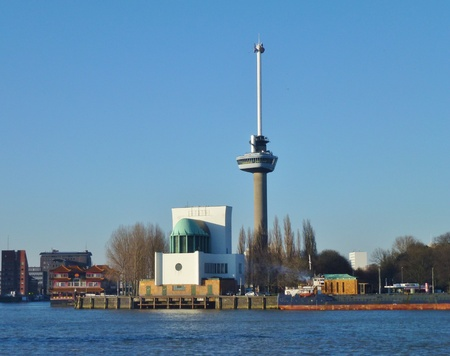 euromast: euromast and other buildings along the river Meuse in Rotterdam in the Netherlands