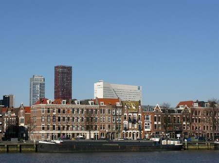 Skyscrapers and other buildings along the river Meuse in Rotterdam in the Netherlands Stock Photo - 12186443