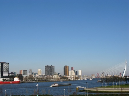 Skyscrapers along the river meusse in Rotterdam seen from the nature island Brienenoord in the Netherlands  photo