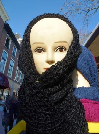showed: Scarf showed on a dummy at the market