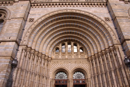 accommodating: A detail of the entrance of the historic waterhouse building in Kensington in London  accommodating the natural history museum