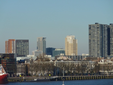 meuse: Skyscrapers and other buildings along the river Meuse in Rotterdam in the Netherlands
