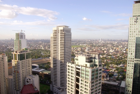 The business district Makati in Manila in the Philippines Stock Photo