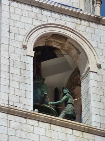 The city bell tower with sculptures of soldiers as a  time indicator  in Dubrovnik in Croatia Stock Photo - 12378102