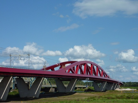ijssel: The new railroad and cycle bridge in perspective over the river IJssel in Zwolle in the Netherlands Stock Photo