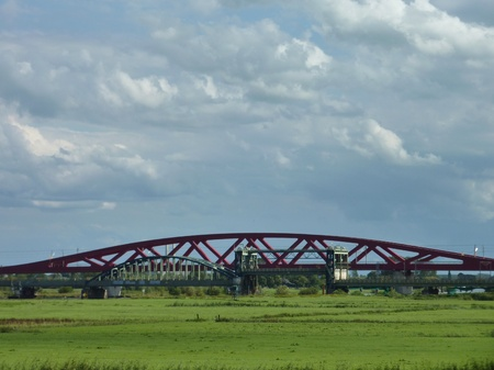 ijssel: The old and the new railway bridge over the river IJssel in Zwolle in the Netherlands